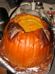 Pumpkin soup in its shell