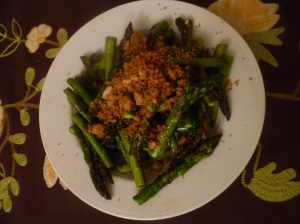 Breadcrumbs over steamed asparagus