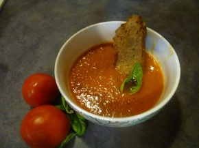 Toasted herb croutons + homemade tomato soup