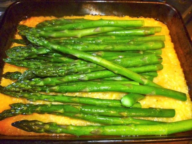 Polenta with roasted asparagus