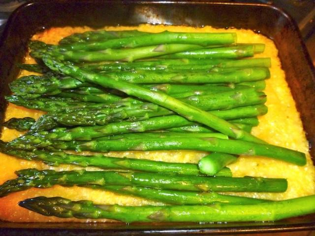Polenta with roasted asparagus