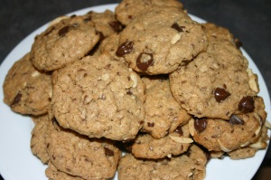 Almond (and almond butter) oat chocolate chip cookies