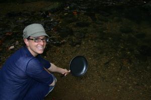 A river by the tent is a convenient way to toivel a pan.