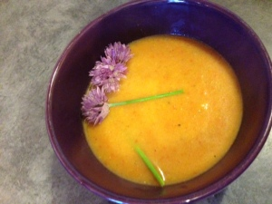 Carrot ginger soup with garden chives